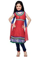 Red Cotton Readymade Anarkali Churidar Kameez