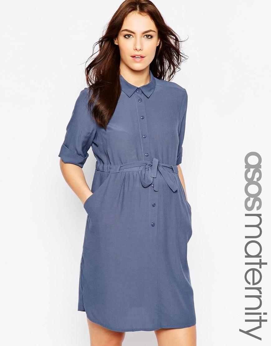 ASOS Maternity | ASOS Maternity Shirt Dress With Tie Waist at ASOS