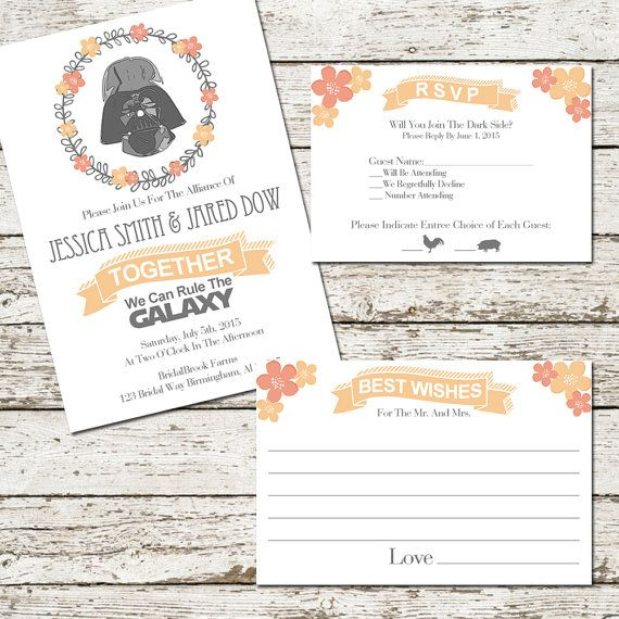Star Wars Wedding Invitation Set Suite Printable Darth Vader Rsvp
