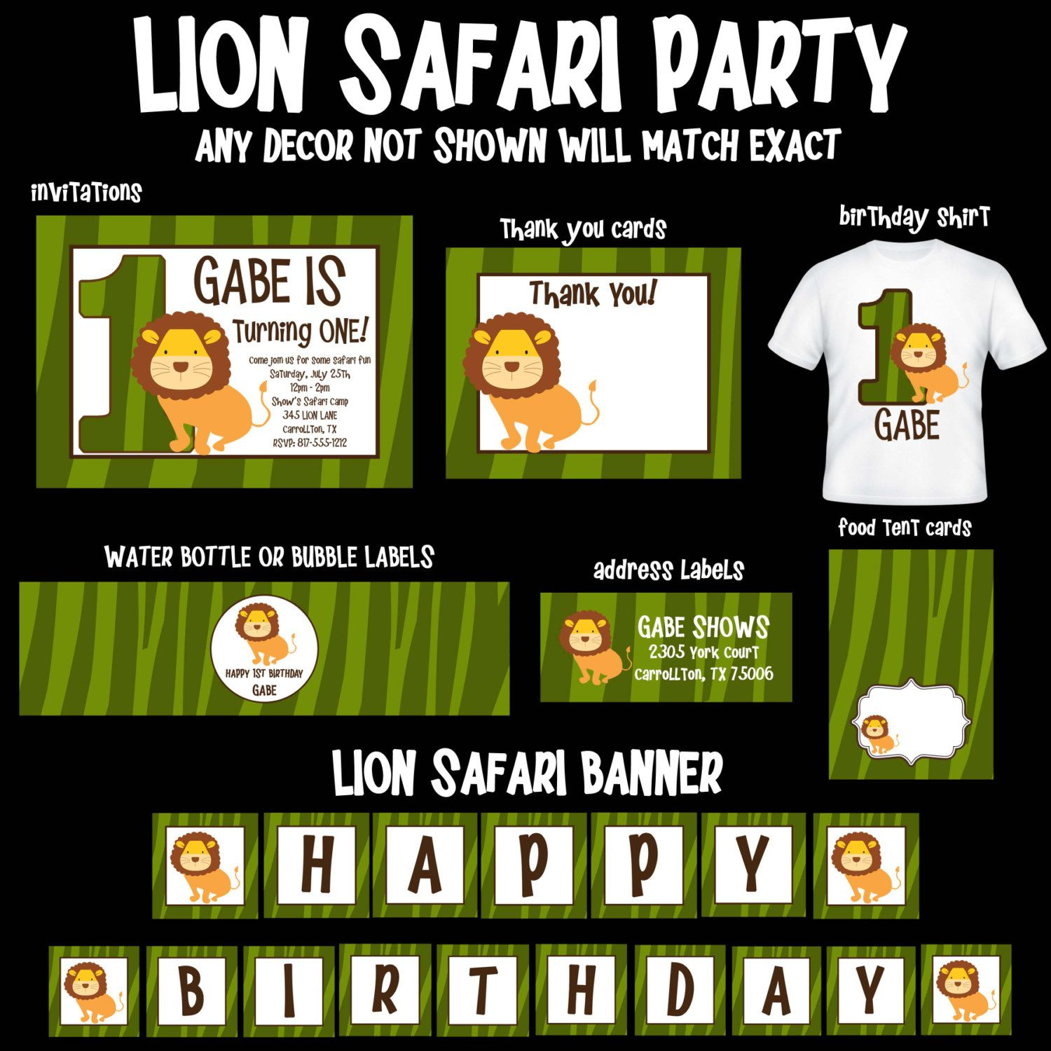 Lion Safari Birthday Invitations, Party Decorations, Supplies by OneWhimsyChick on Etsy
