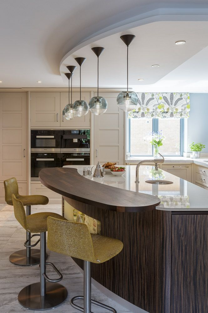Designed and built for the client, this beautiful newbuild is full of shape and colour. A mix of materials, paint colours and curves this project stands out from the crowd. #design #bespoke #kitchen