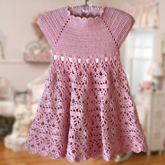 Pink Lace Dress Crochet Pattern Flower Girl Dress Pink Toddler