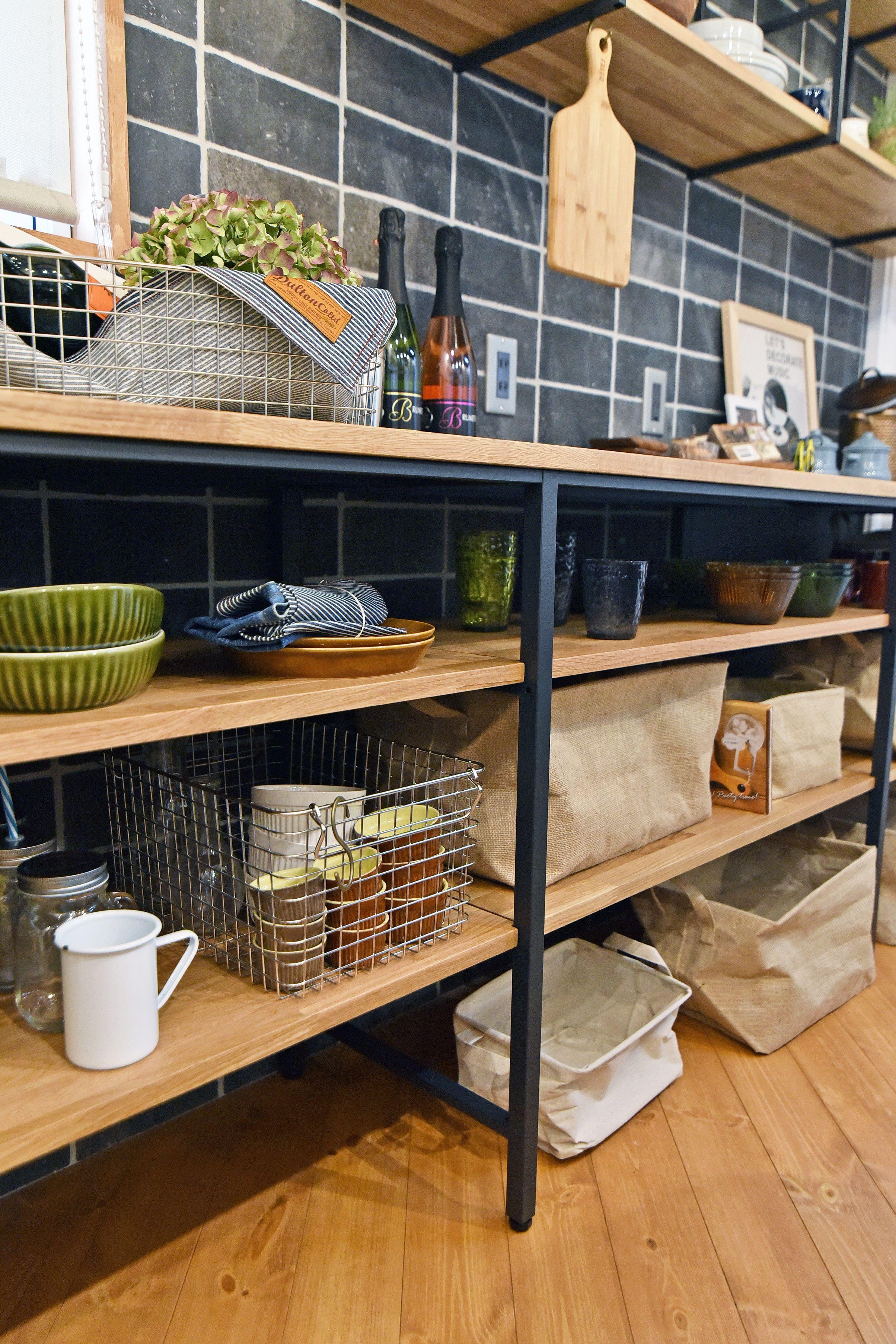 Wood One キッチンバック 見せる収納 施工事例 キッチンアイデア
