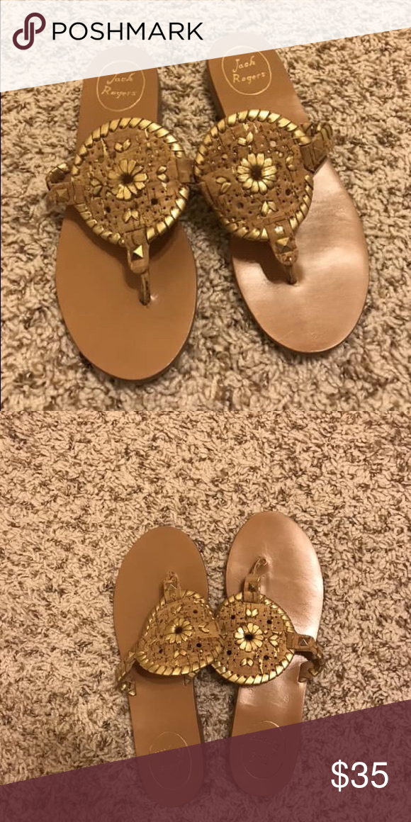 2e2c303d93b Jack Rogers Georgica Sandal Tan and gold
