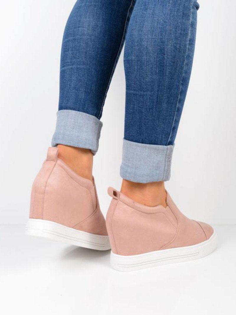 Wedge sneakers, Faux suede heels