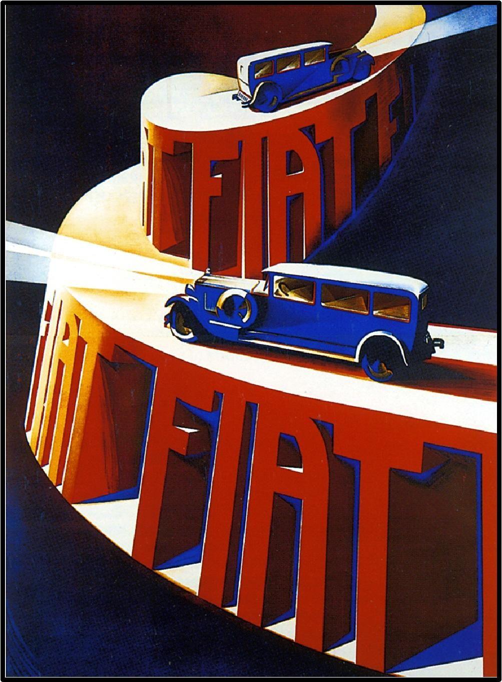 Poster design 1900 - Fiat Automobile Vintage Automobile Poster 1900 Http Retrographik Com