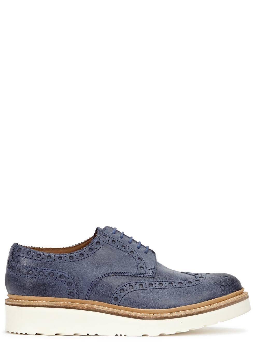 Grenson blue brushed leather brogues