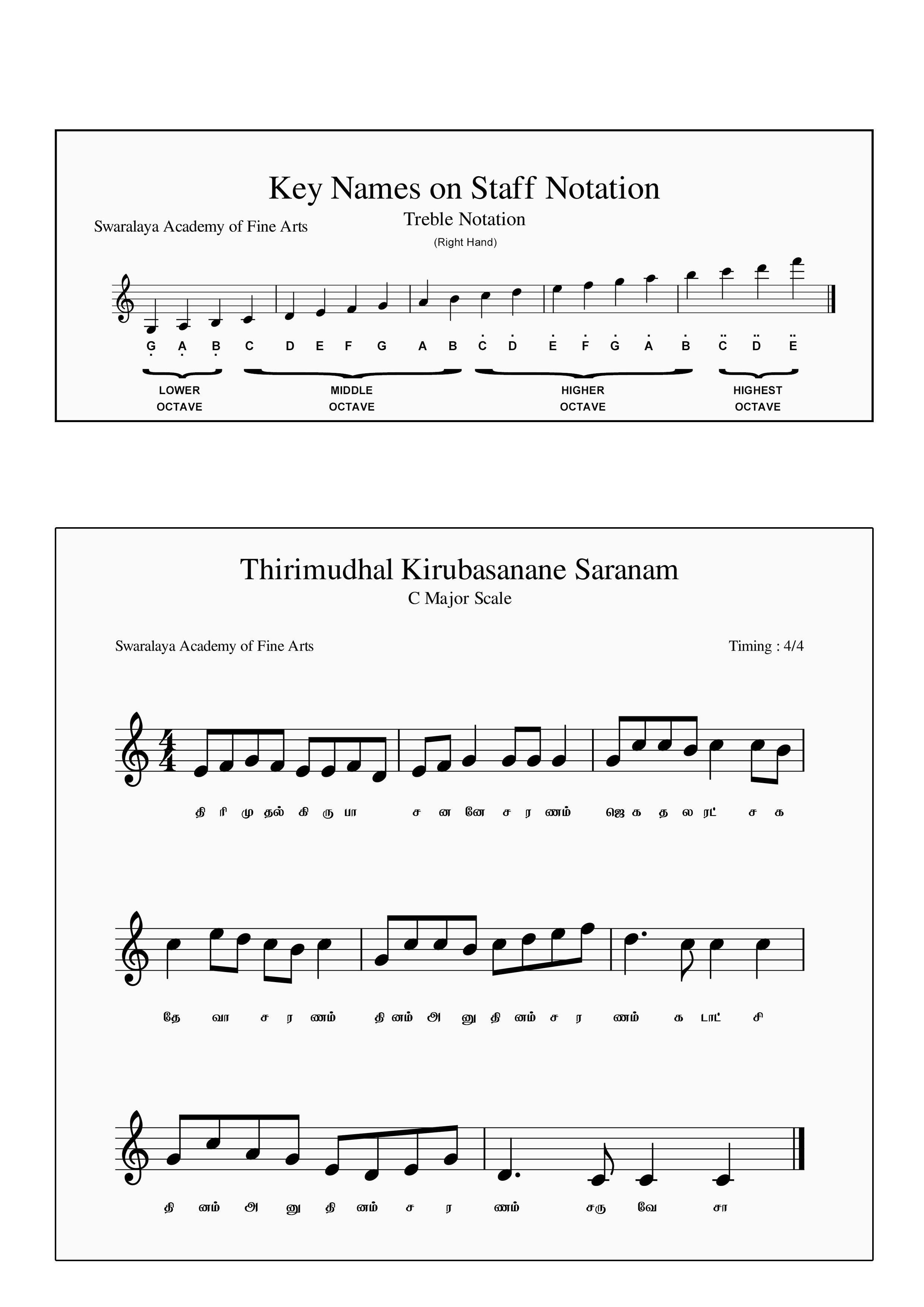 Sheet Music For Tamil Christian Song Thirimudhal Kiruba Sanane