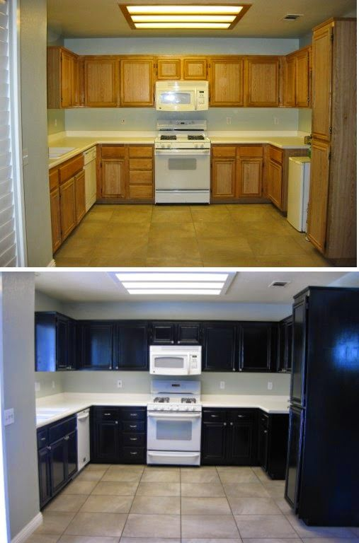 DIY black painted kitchen cabinets - Before and after in ...