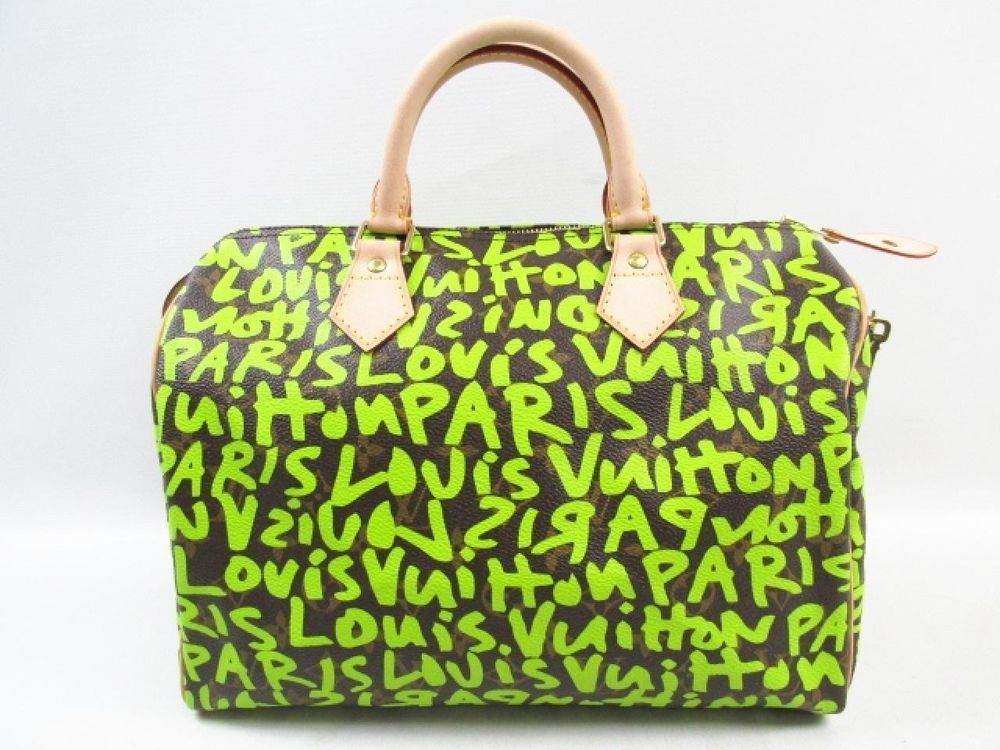 8a27ddb1d719 Auth LOUIS VUITTON Monogram Graffiti Speedy 30 Handbag Handle Bag Vert   LouisVuitton  Handbag