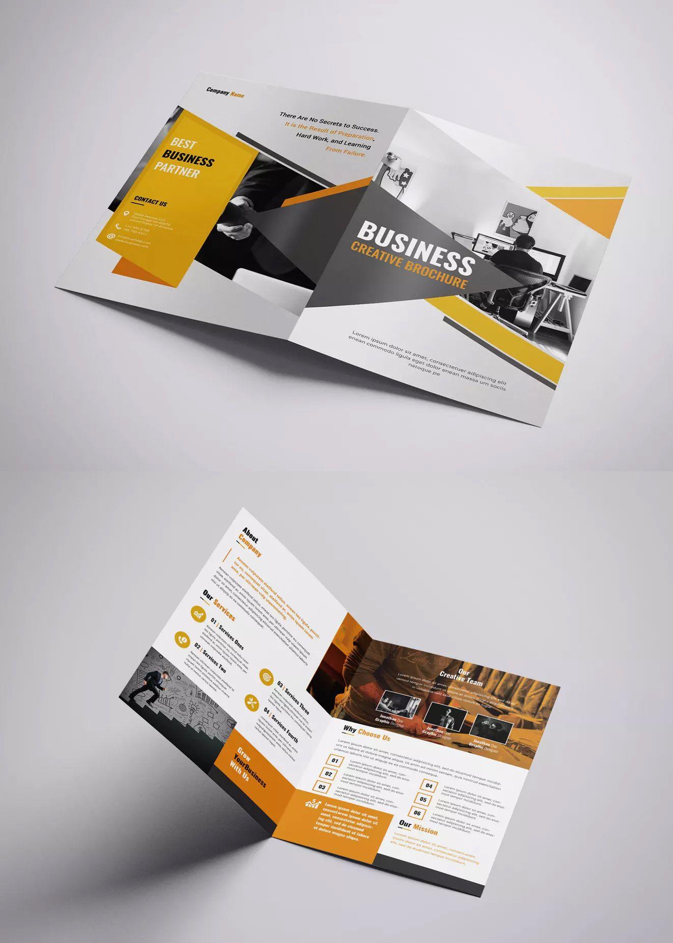 Business Creative Bi Fold Brochure Template Psd Bi Fold Brochure
