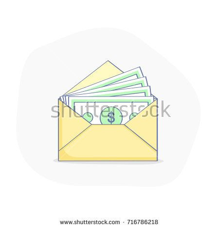 Money Transfer Wage Payment Receipt Of Money Open Envelope With Money Bills Flat Outline Illustration Busi Money Transfer Outline Illustration Money Bill