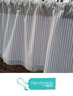One Storm Grey And White Small Stripe Ticking Valance Curtain 100 Quality