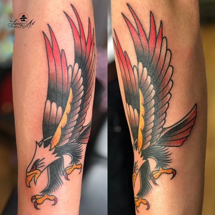 My new #eagletattoo done in Living Art Studio #TattooIdeas #colortattoo #tattoostudio #tattooshopinDuluth #Minnesotatattoo #tattooart #inked