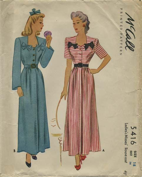 Vintage Sewing Pattern | Housecoat | McCall 5416 | Year 1943 | Bust 36 | Waist 30 | Hip 39