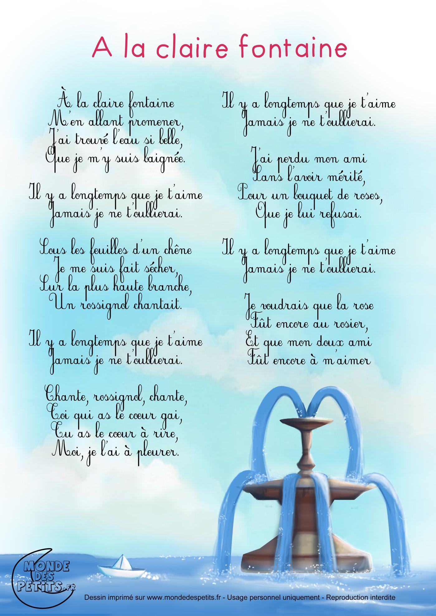 Uncategorized A La Claire Fontaine paroles et chanson a la claire fontaine les partition lorigine de fontaine