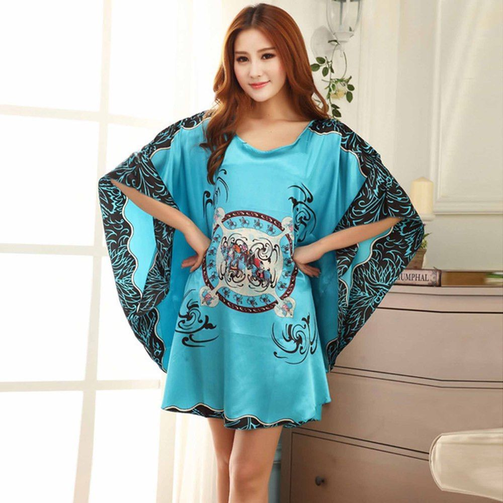 new summer style womens robe batwing sleeve nightie dress home