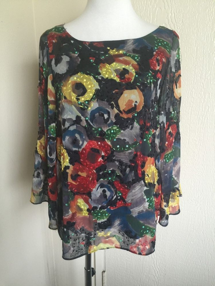 8f2e3c30d837 Alice Olivia Sz s Red Yellow Floral Beaded Long Dolman Sleeve Dressy ...