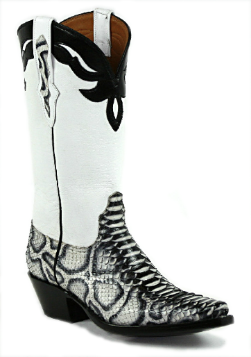Mens Black Snake Print Dress Leather Cowboy Boots Zip Up Dress Square Toe