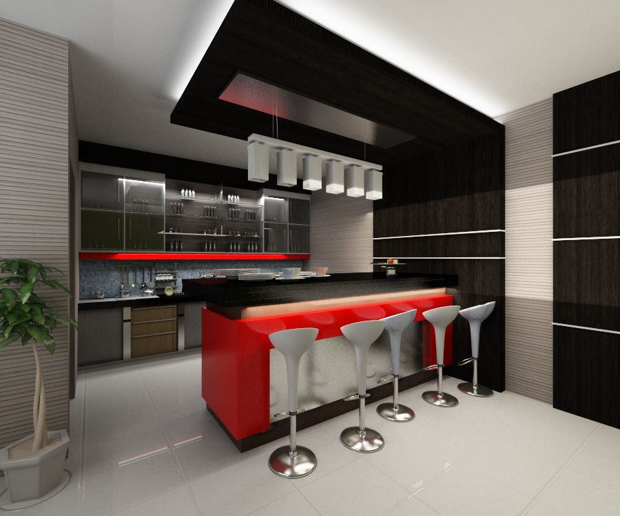 Modern Decor For Mini Bar Counter Designs With Recessed Lighting And Marble Island Also Using Chairs