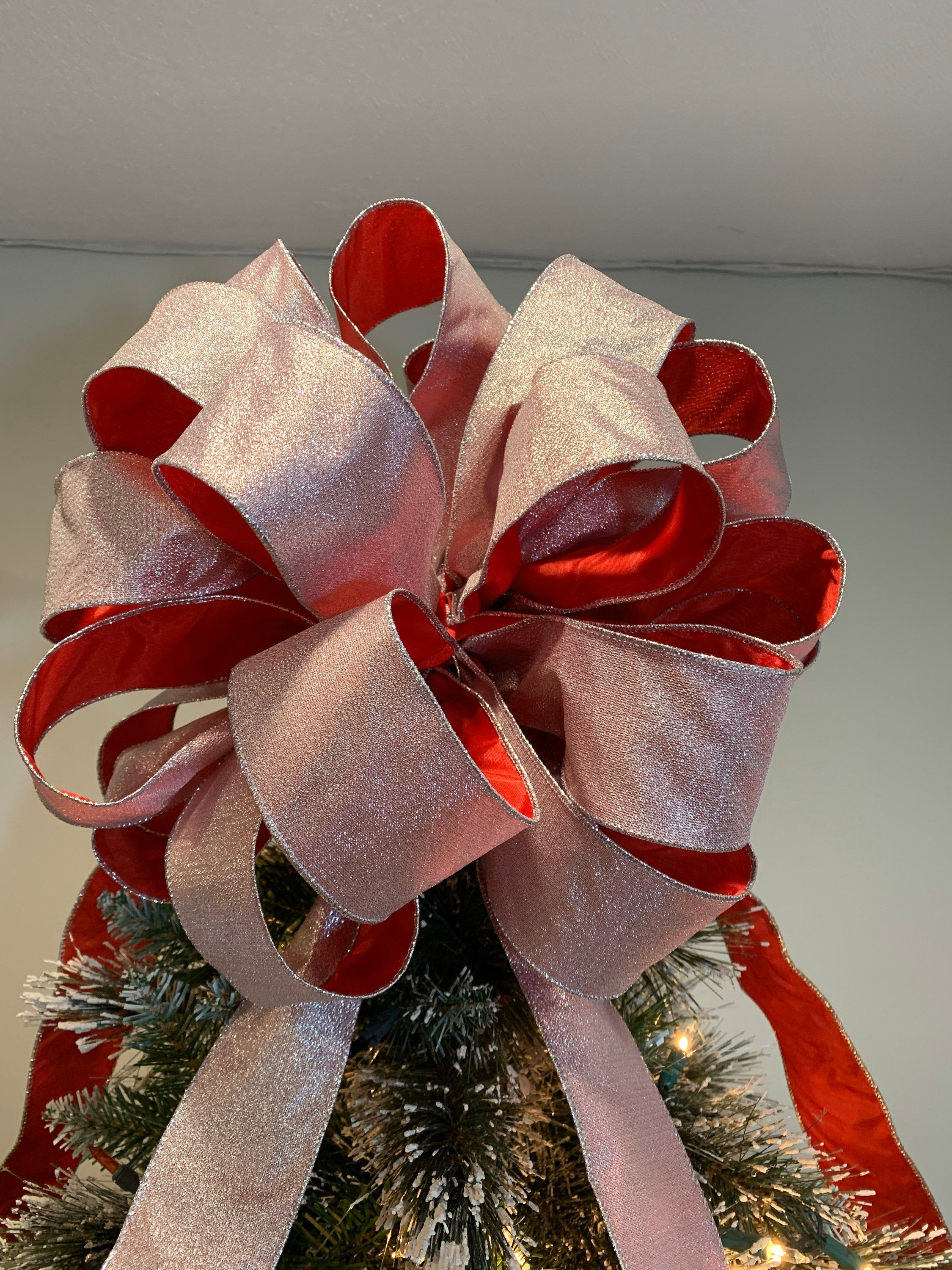 Large Christmas Tree Topper Bow 2 Sided Ribbon Shimmering Silver On One And Red Satin On The Other Tree Topper Bow Christmas Tree Toppers Large Christmas Tree