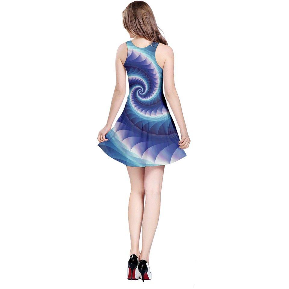 Purple+&+Aqua+Spiral+Fractal++Reversible+Sleeveless+Dress