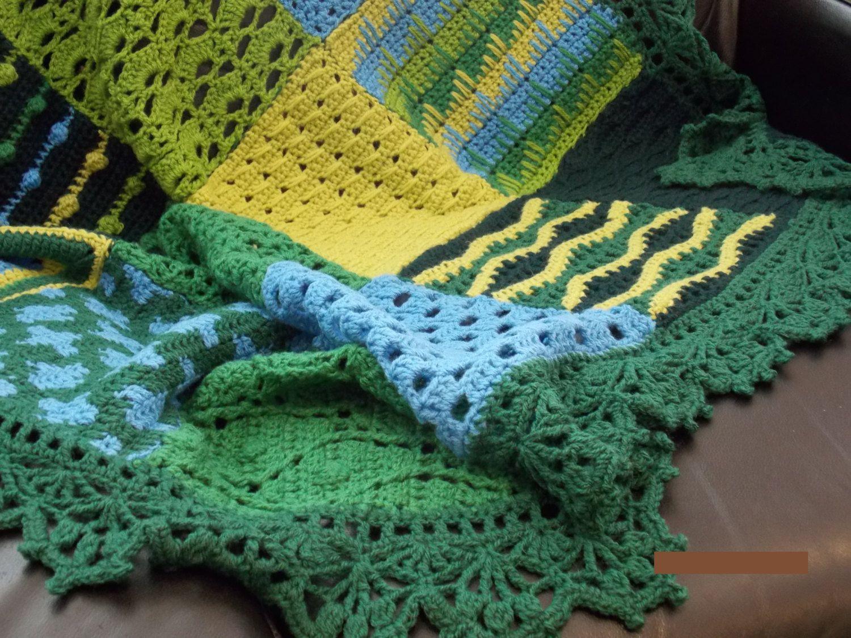 🏡 Campo Estilo Amostrador Afegão Crochê Artesanal -  /  🏡 Country Style Sampler Afghan Handmade Crocheted -