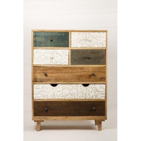 Commode design bois coloré Avec ses différentes couleurs et ses - meuble de rangement avec tiroir