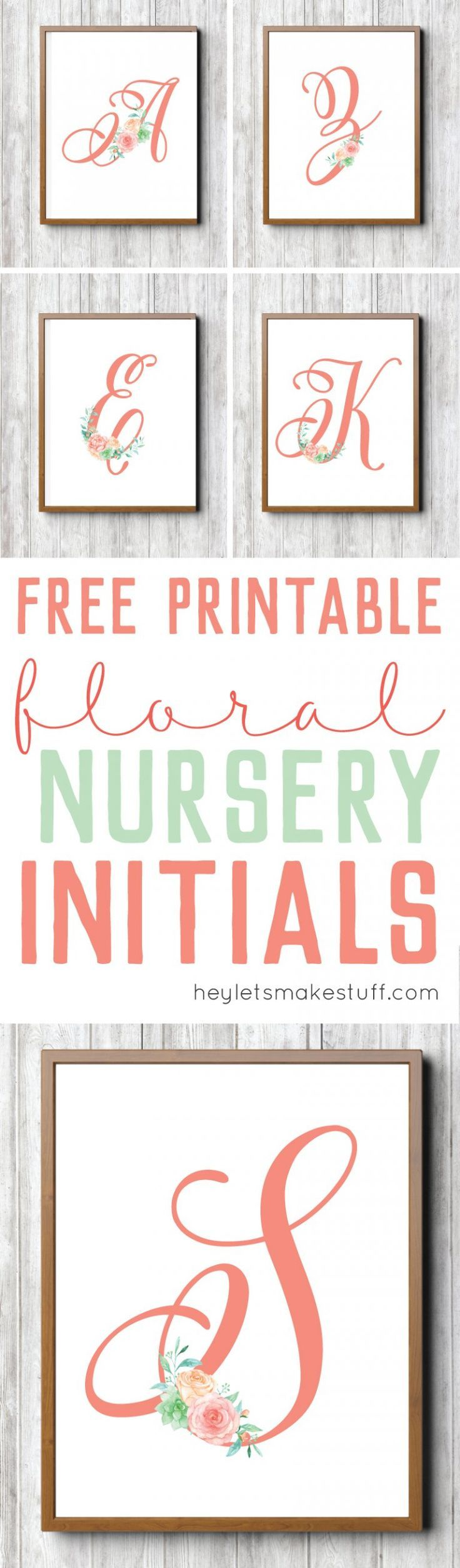 Set of 3 Digital Nursery Art Prints for Baby Girl Nursery Digital Download 70/% OFF Watercolor Floral Bouquets and Floral Initial Monogram