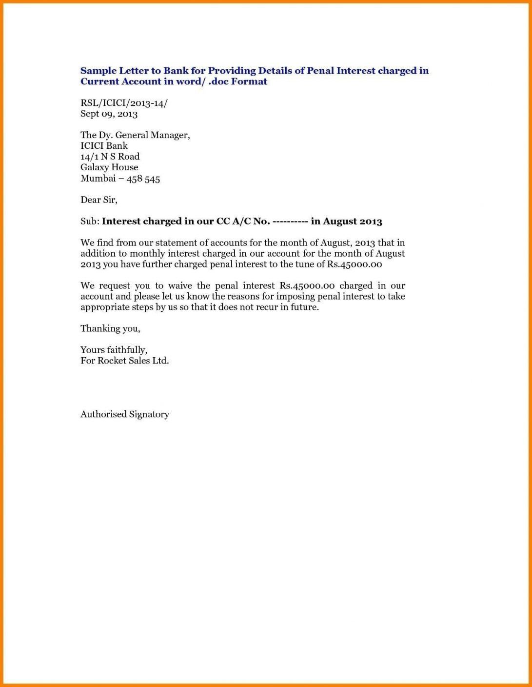 Close Bank Account Letter Sample
