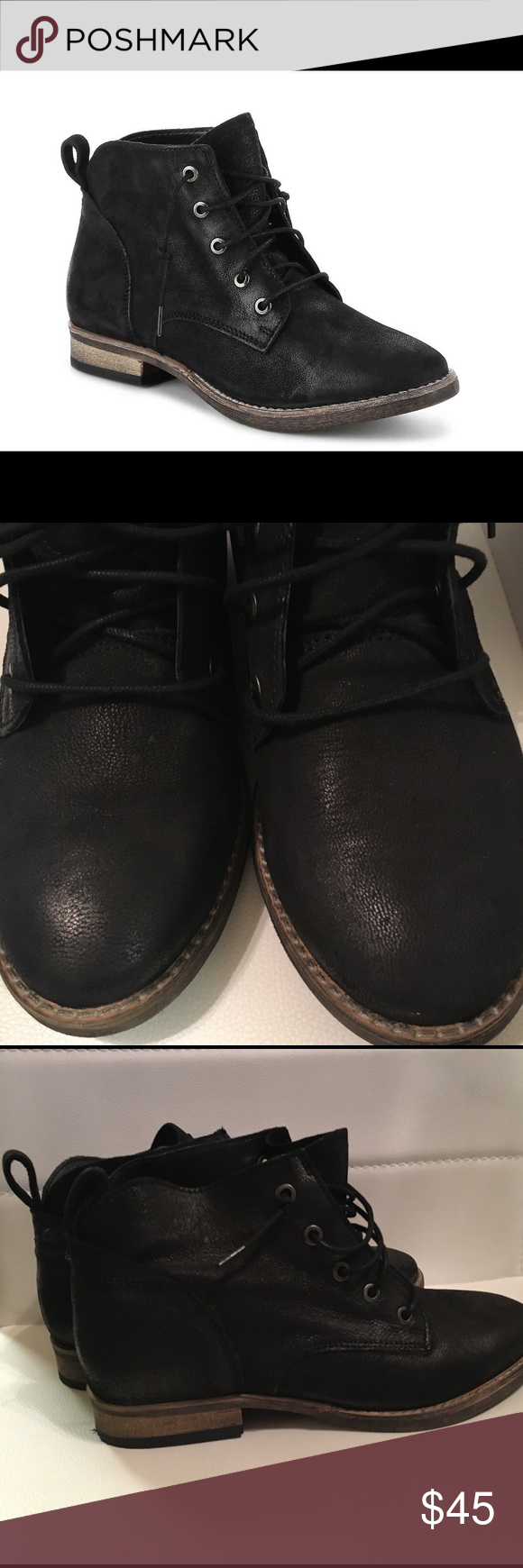 """ea5320d371 Diba Eli Lace-Up Boots Leather upper Lace-up Heel loop tab Round toe 1""""  block heel Rubber sole These have only been worn to the mailbox and back."""