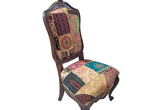 Best Patchwork Accent Chair French Wood Distressed Side Chair 400 x 300