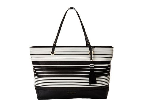 5f7e0a1c9dd You ll be the epitome of beauty and grace with the Tommy Hilfiger Grace  Tote Tom Stripe handbag! Made of synthetic leather Top zip closure Dual  flat carry ...