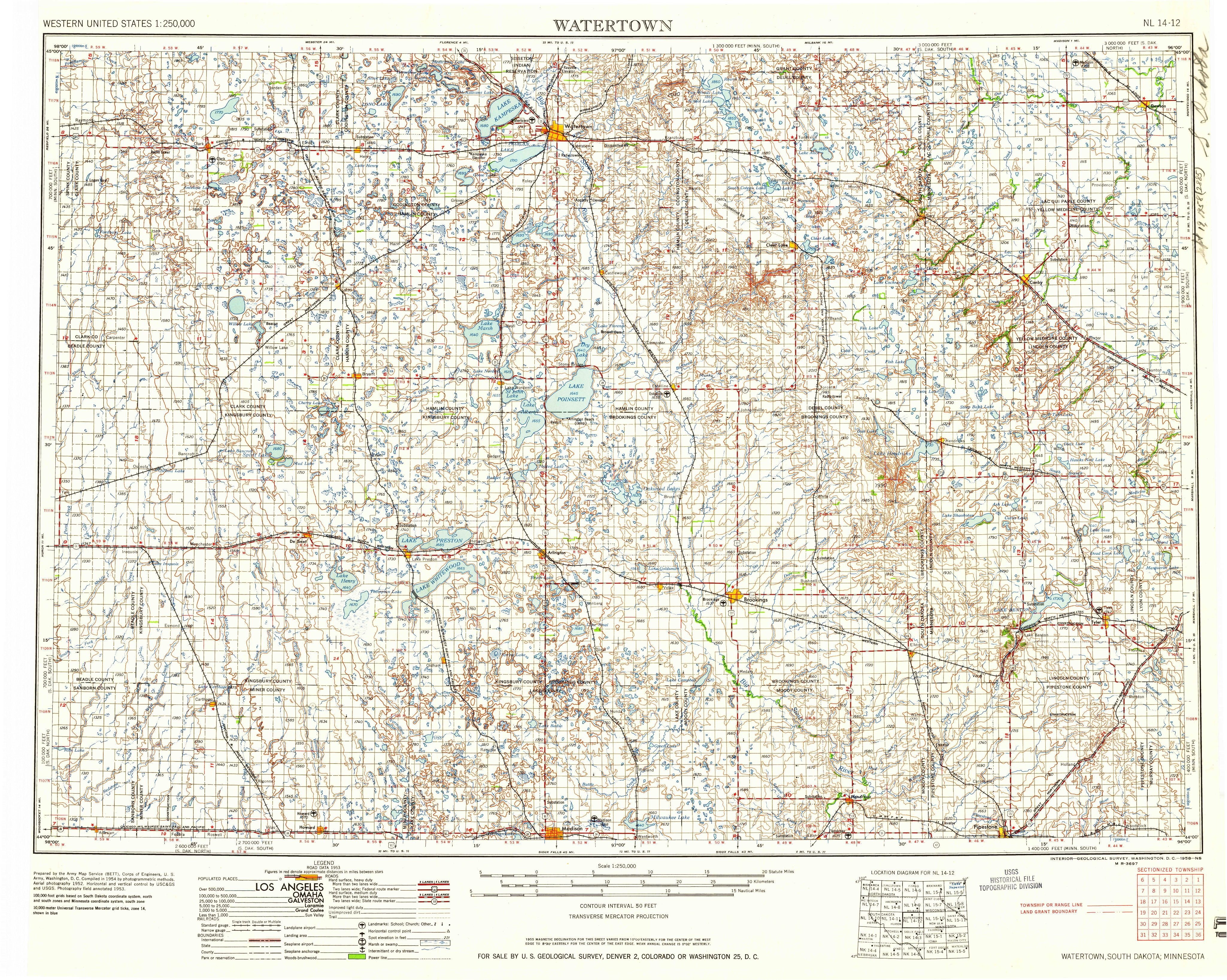 Watertown SD1958 Map from the USGS Historical Topographic Map