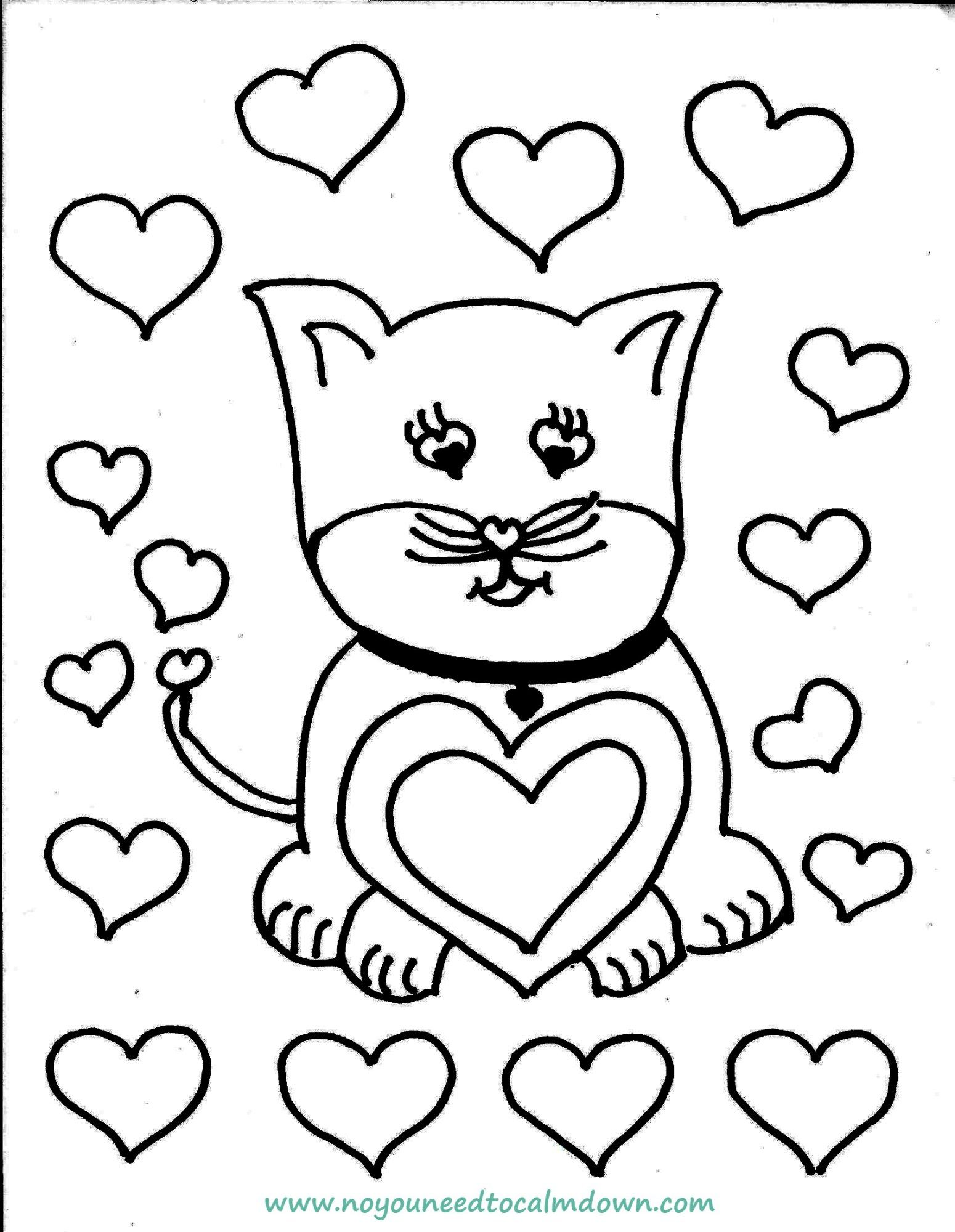 Cute Cat Valentine S Day Coloring Page Free Printable No You Need To Calm Down Valentines Day Coloring Page Valentines Day Coloring Valentine Coloring