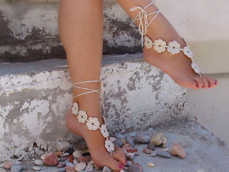 f455db05abc0b Barefoot Sandles, Crochet Flower Light Beige Barefoot Sandals, Nude ...
