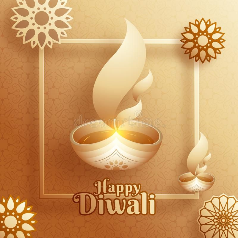 Happy Diwali Greeting Card Design With Illuminated Oil Lamp And Stock Illustration - Illustration of hindu, indian: 127983763