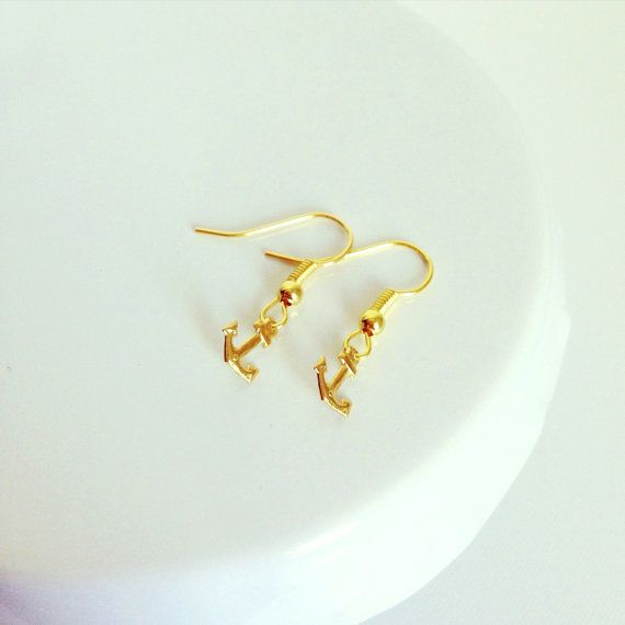 Dainty nautical gold anchor earrings by TheLittleWonderland