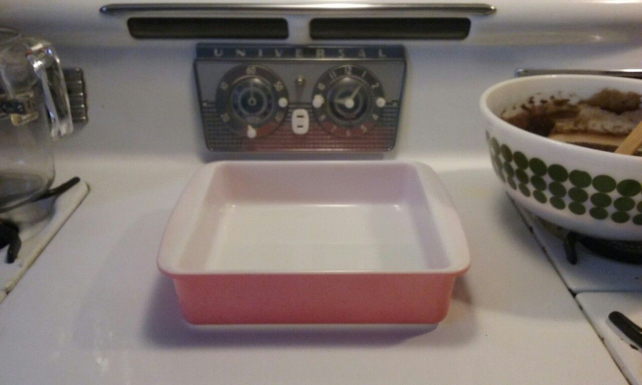 Pyrex Desert Dawn 8x8 pink baking dish with red speckles.  Manufactured only one year 1955-1956. Purchased at an estate sale  Getting ready to make some brownies YUM!