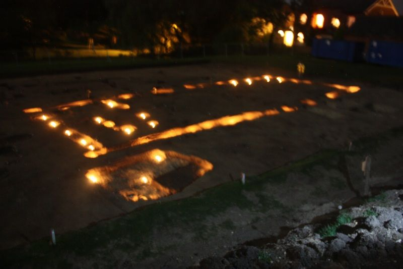 The candlelit outline of the great hall at Lyminge