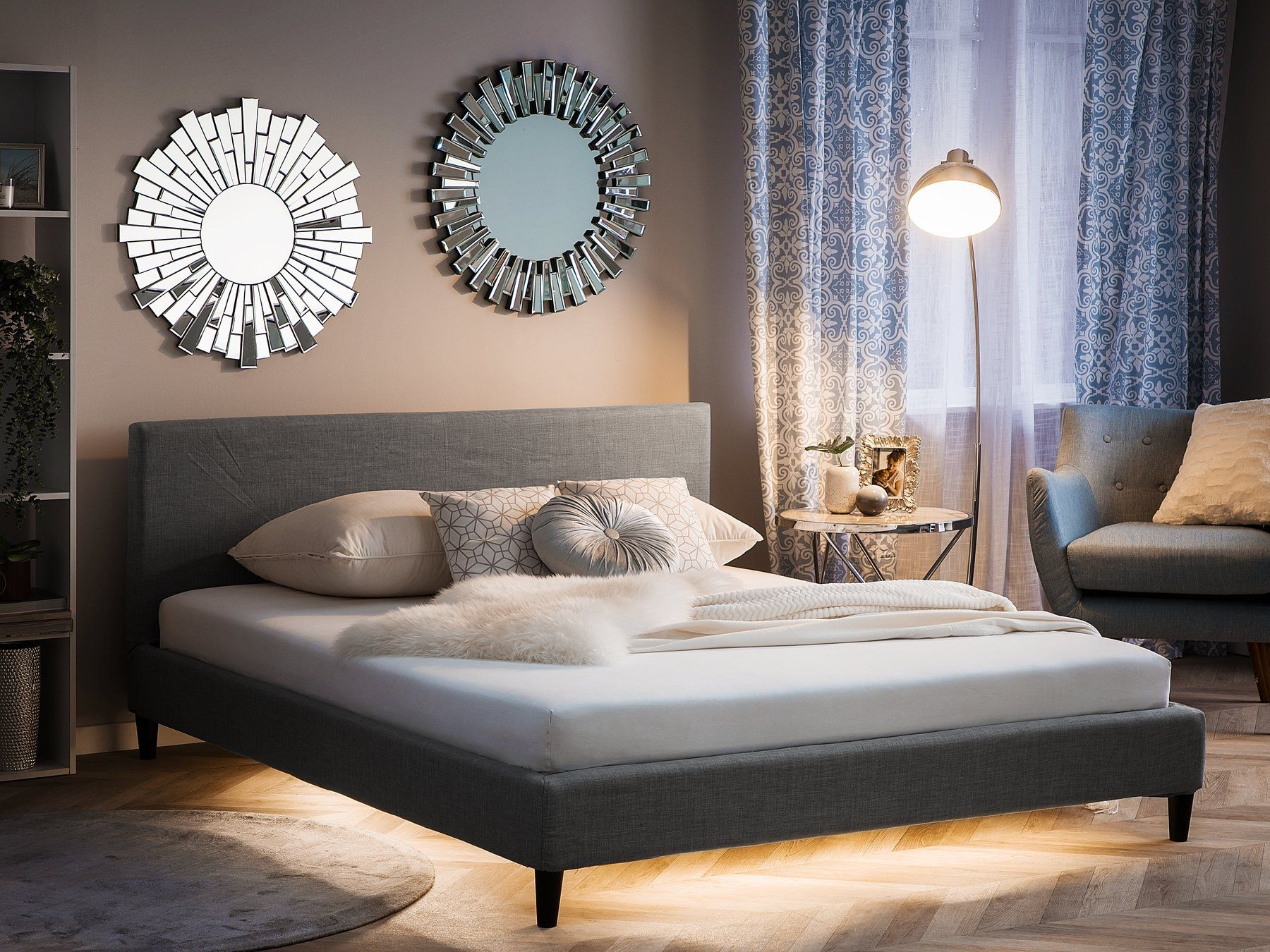 Fabric King Size Bed White LED Light Grey FITOU