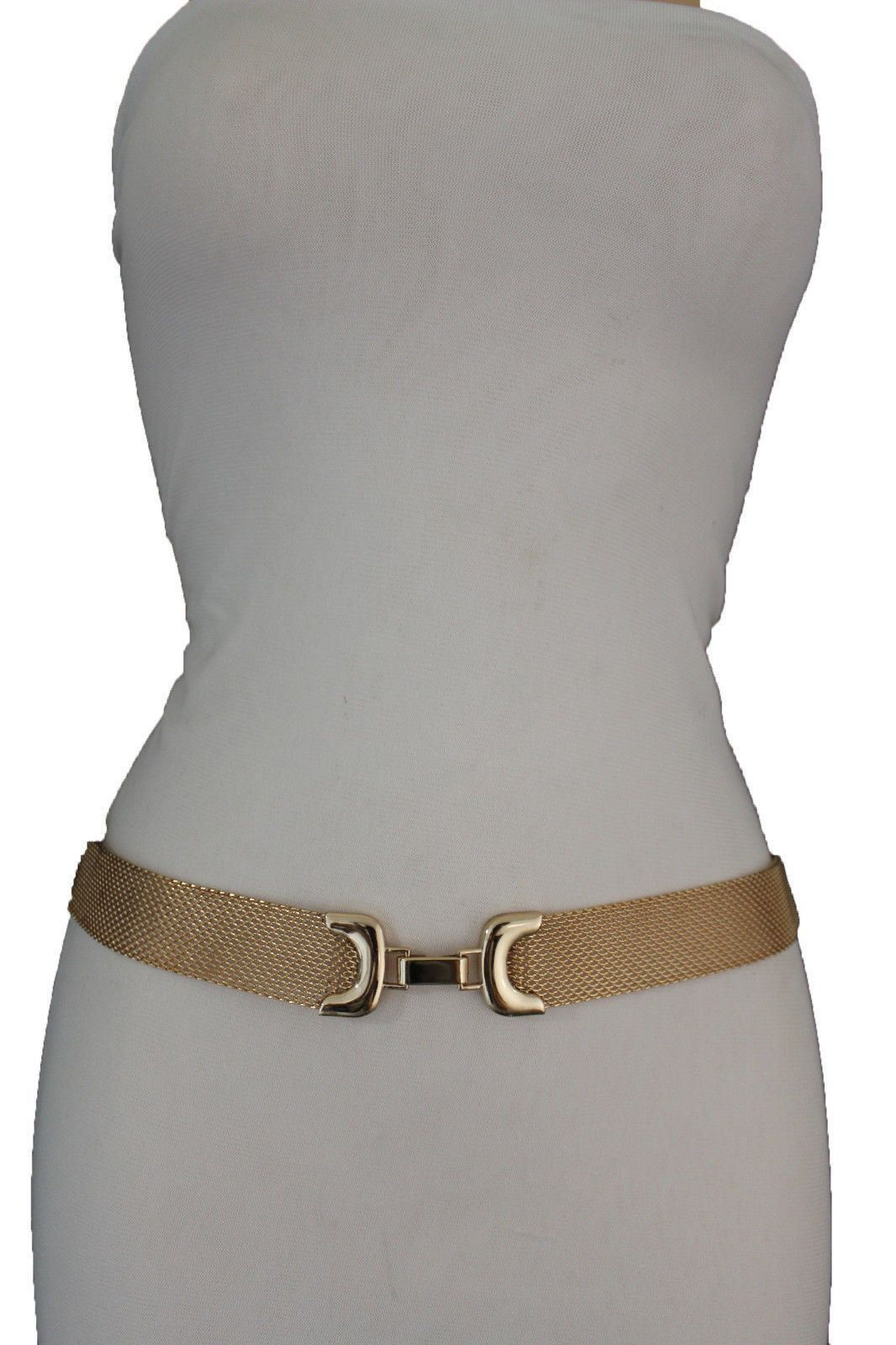 New Women White Wide Fashion Elastic Waisted Belt Silver Metal Chain Buckle S M