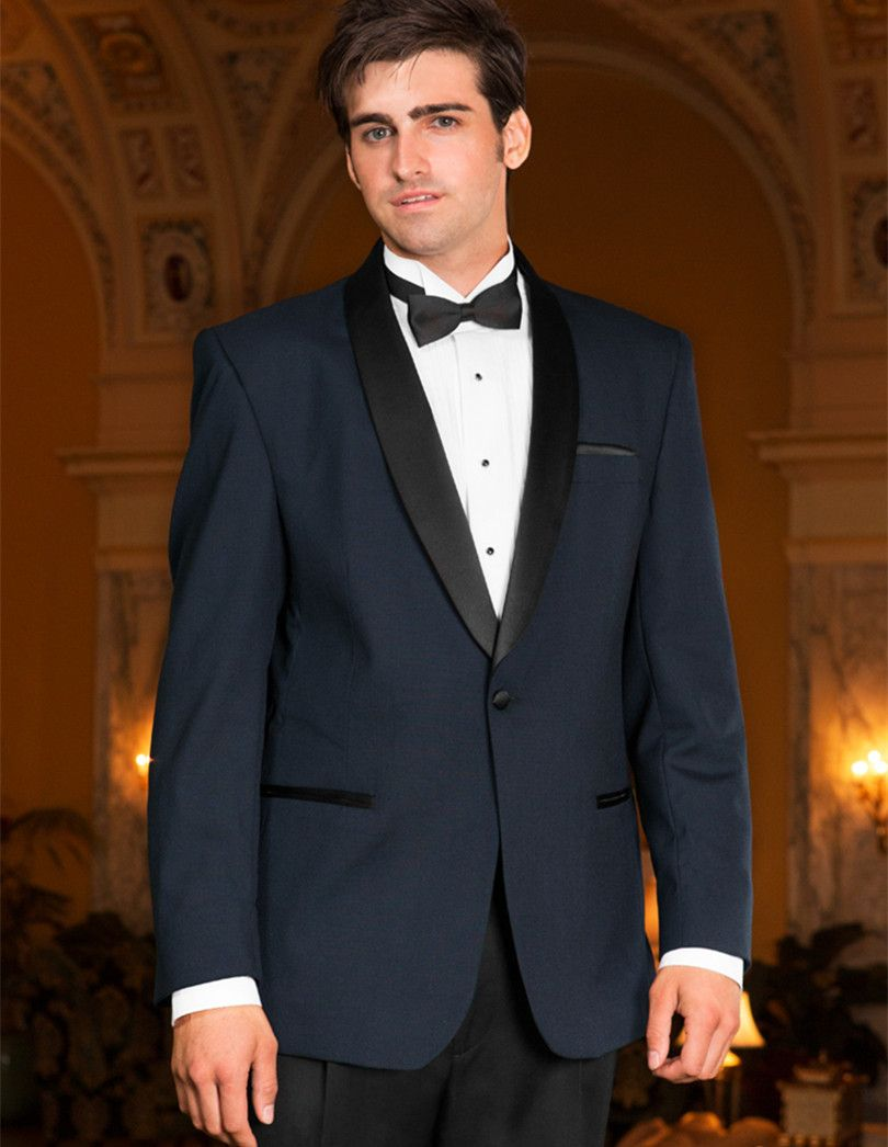 Click to Buy << modern suit men wedding tuxedo navy high quality ...