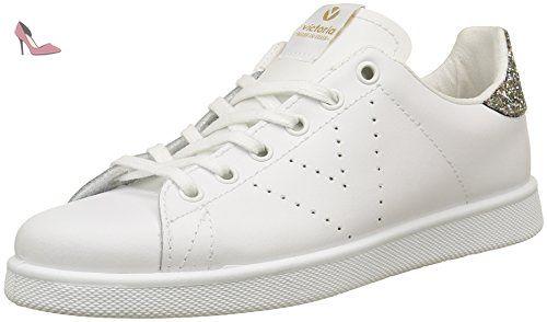 Victoria Deportivo Basket Piel, Sneakers Basses Mixte Adulte - Blanc (Blanc/Bleu 36) - 41 EU