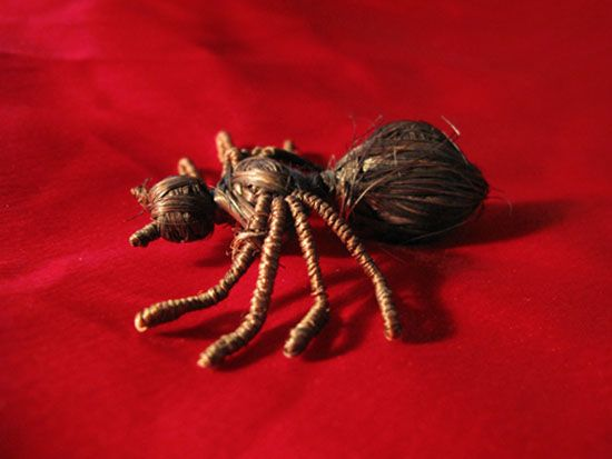 """""""Human Hair Spider"""" handmade with string and hair by Charles Manson   charlesmansonspider2"""