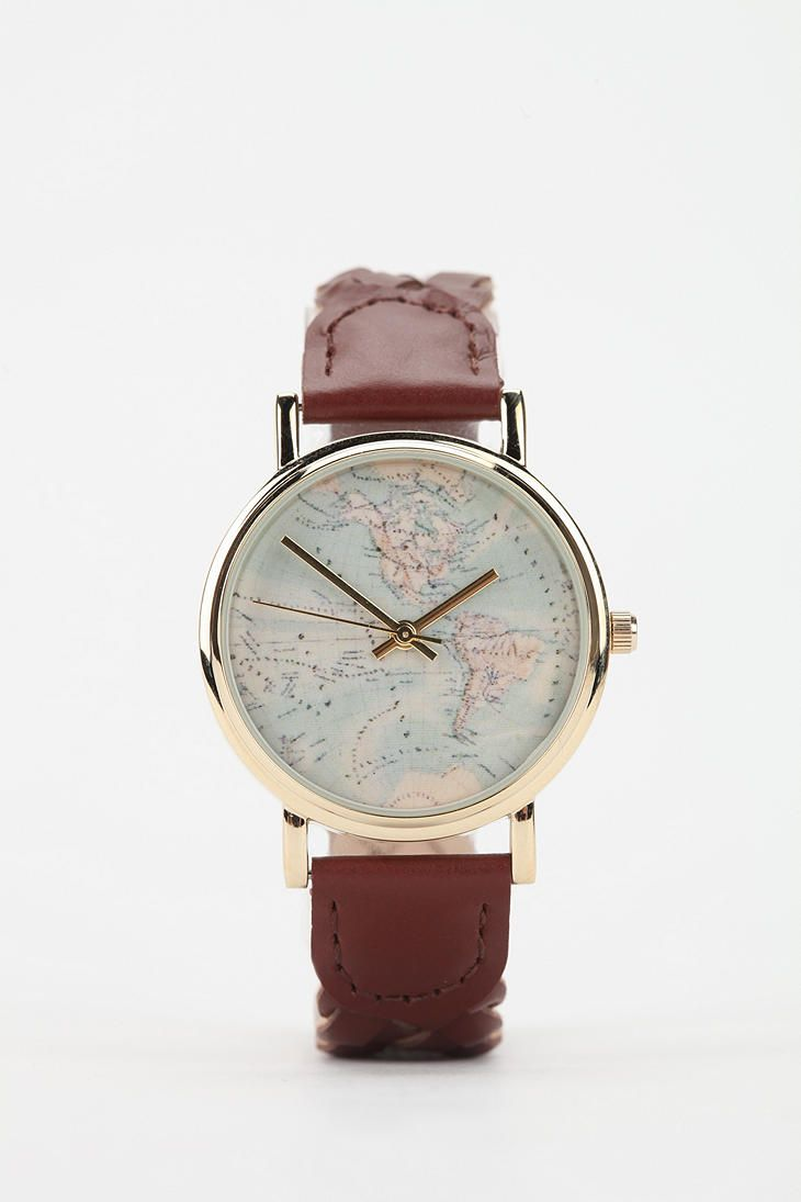 Urban Outfitters World Map Watch.Braided Leather Map Watch Map Watch Braided Leather And Xmas