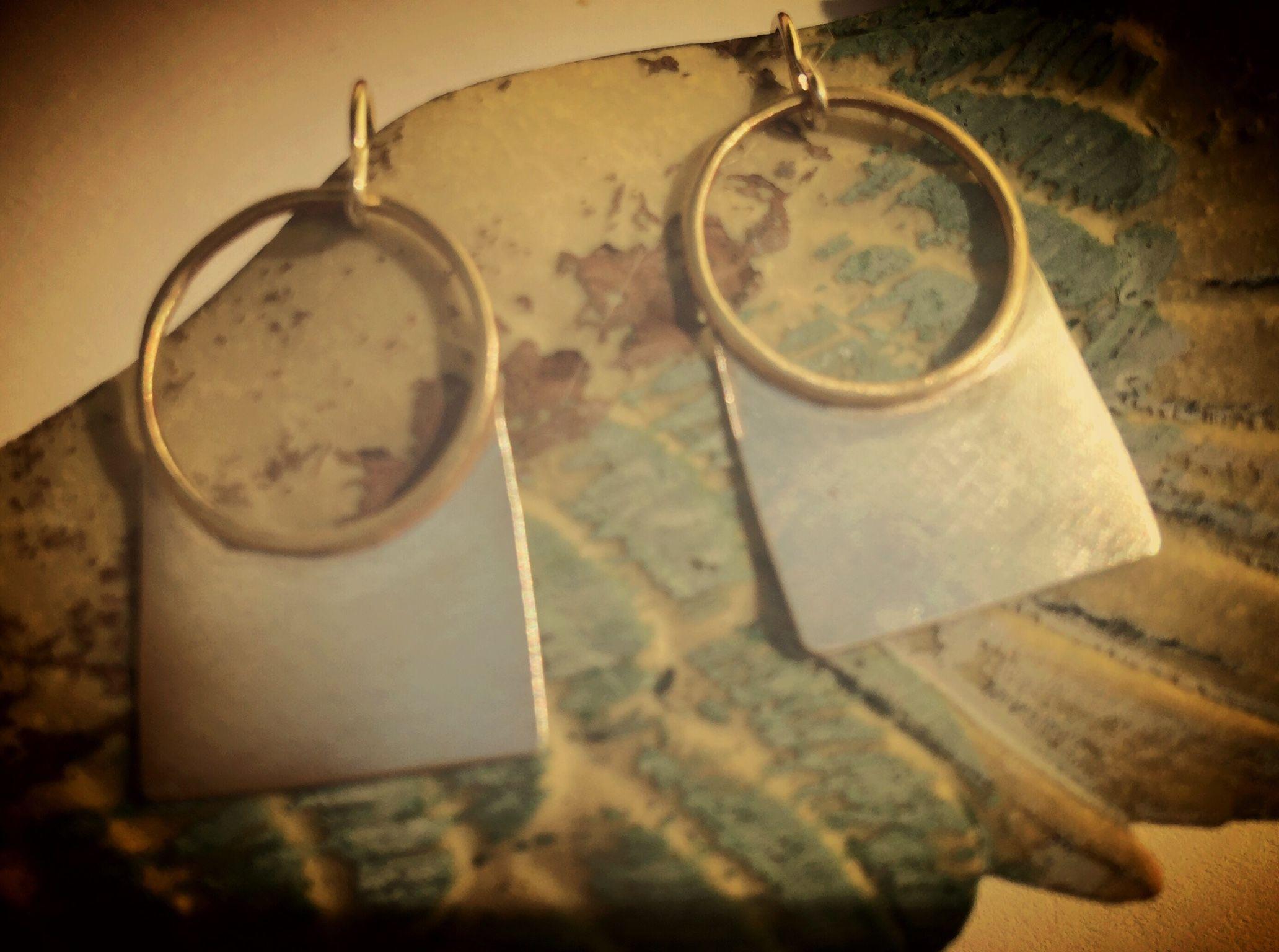 Nancy daniels work sterling and brass geometric earrings Earrings