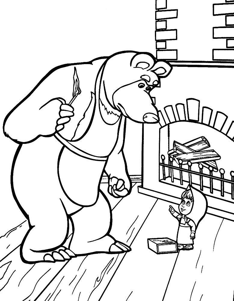 Разукрашки Маша и Медведь для занятий с детьми | Детские ...