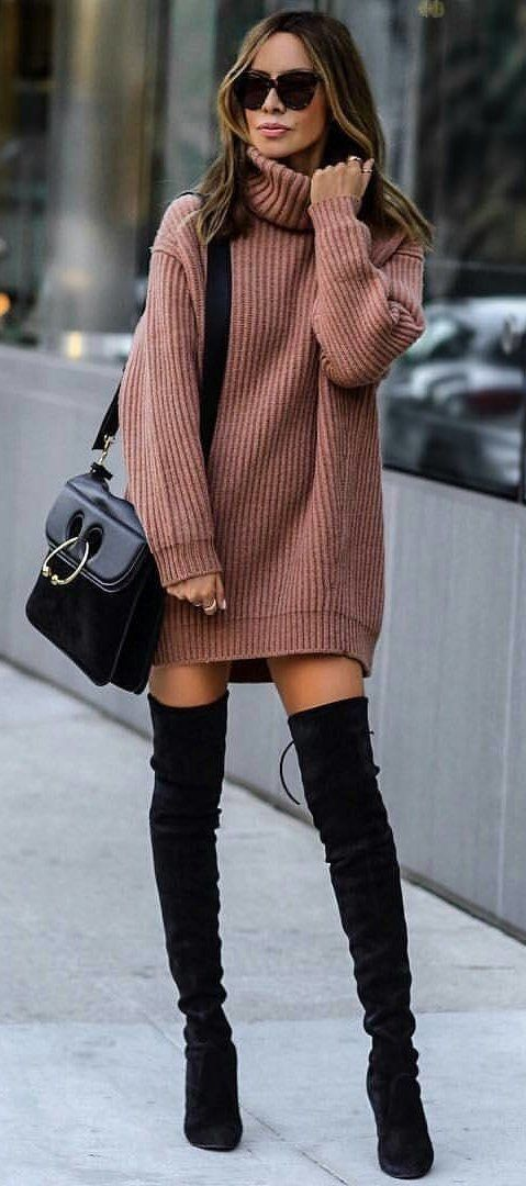Mauve knit mini dress with black suede OTK boots. | Fashion