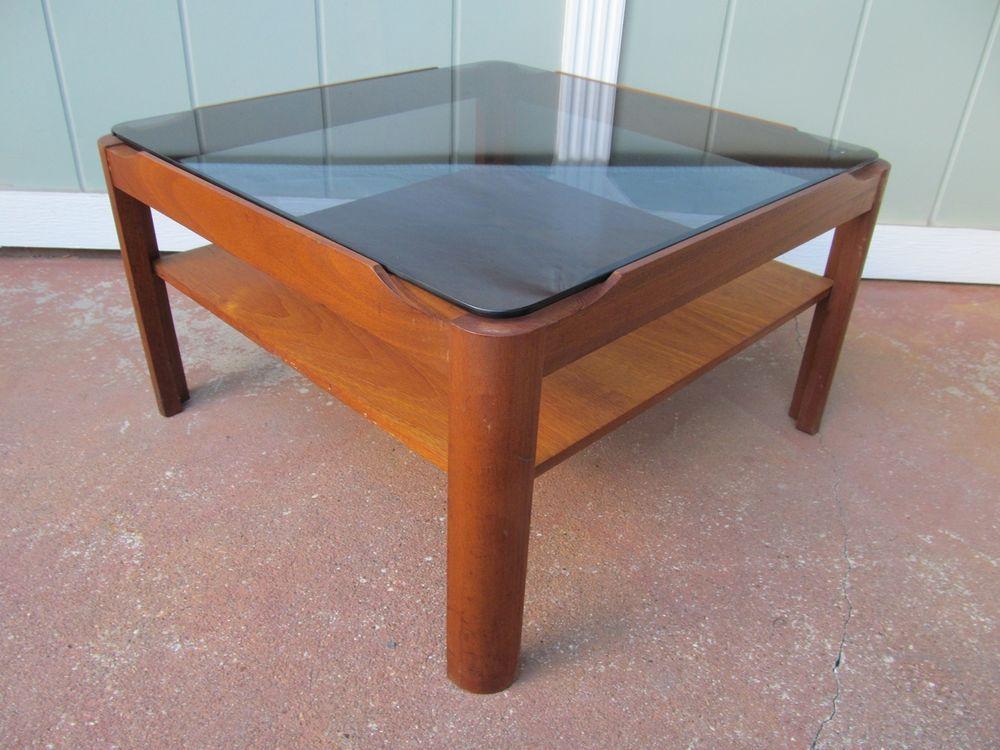 Vintage Mid Century Danish Teak Coffee Table W/ Smoked Glass Top 24